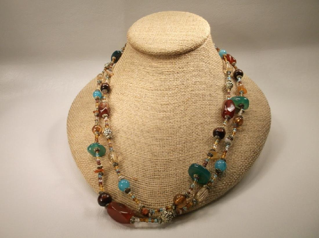 Gorgeous Colorful Agate & Beaded Necklace 42 Inch - 4