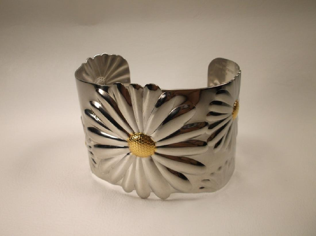 Gorgeous Large Stainless Steel Sunflower Cuff Bracelet