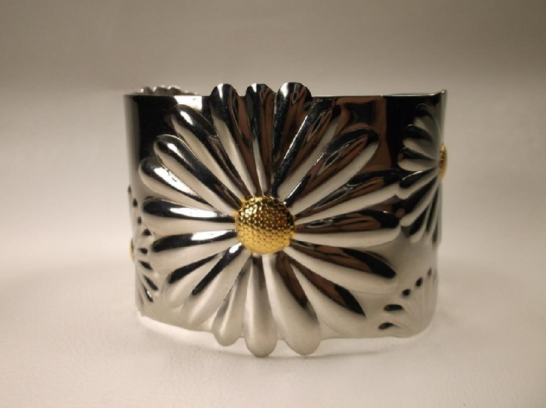 Gorgeous Large Stainless Steel Sunflower Cuff Bracelet - 2