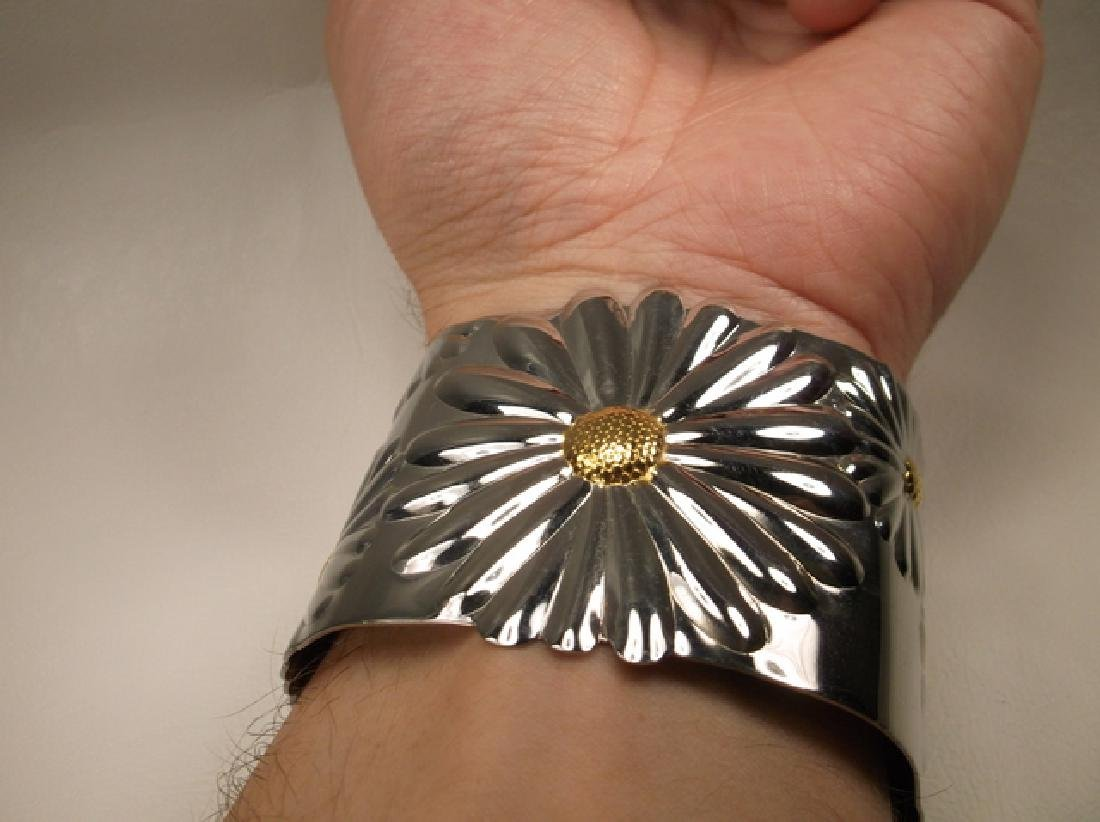 Gorgeous Large Stainless Steel Sunflower Cuff Bracelet - 5