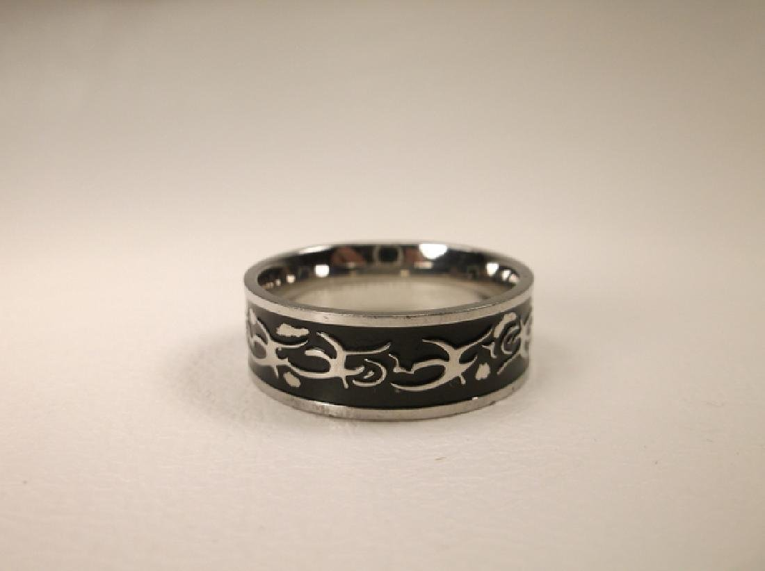 Gorgeous Stainless Steel Mens Tribal Design Ring Size - 2