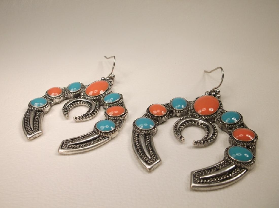 Stunning Large Enameled Southwestern Hook Earrings