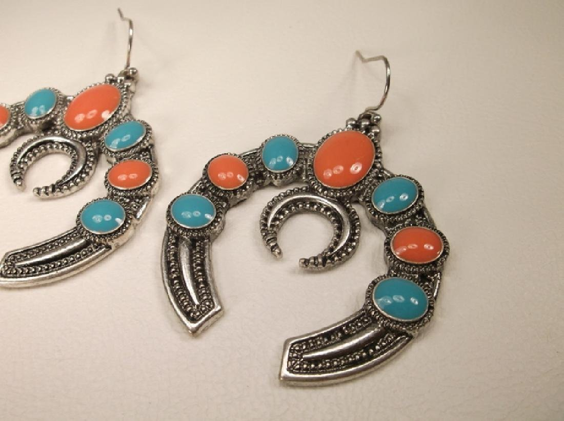 Stunning Large Enameled Southwestern Hook Earrings - 2