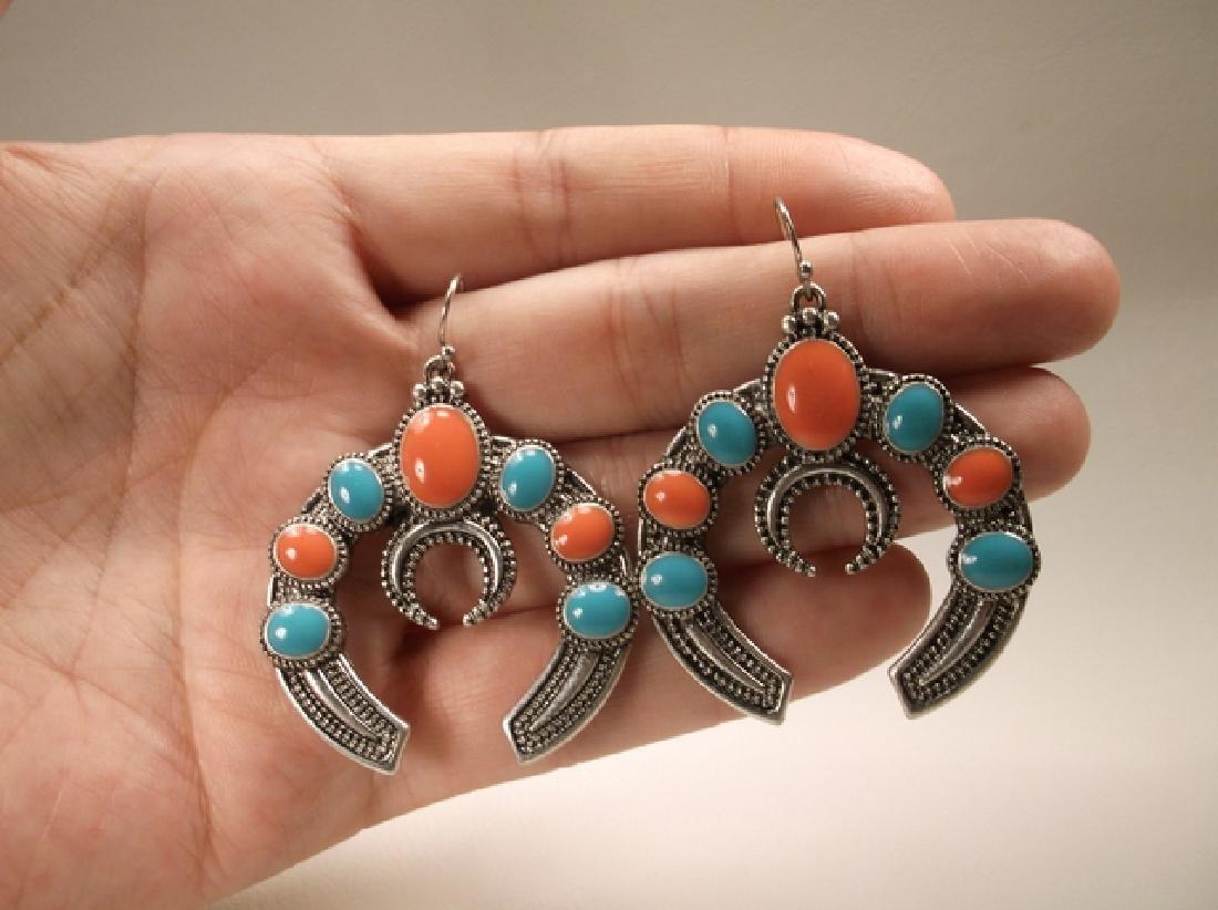 Stunning Large Enameled Southwestern Hook Earrings - 3