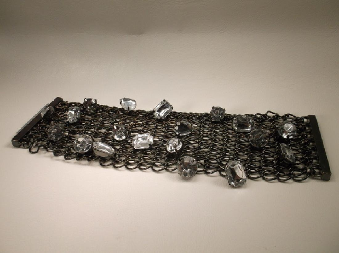 Gorgeous Large Blacktone Rhinestone Wide Mesh Chain - 2