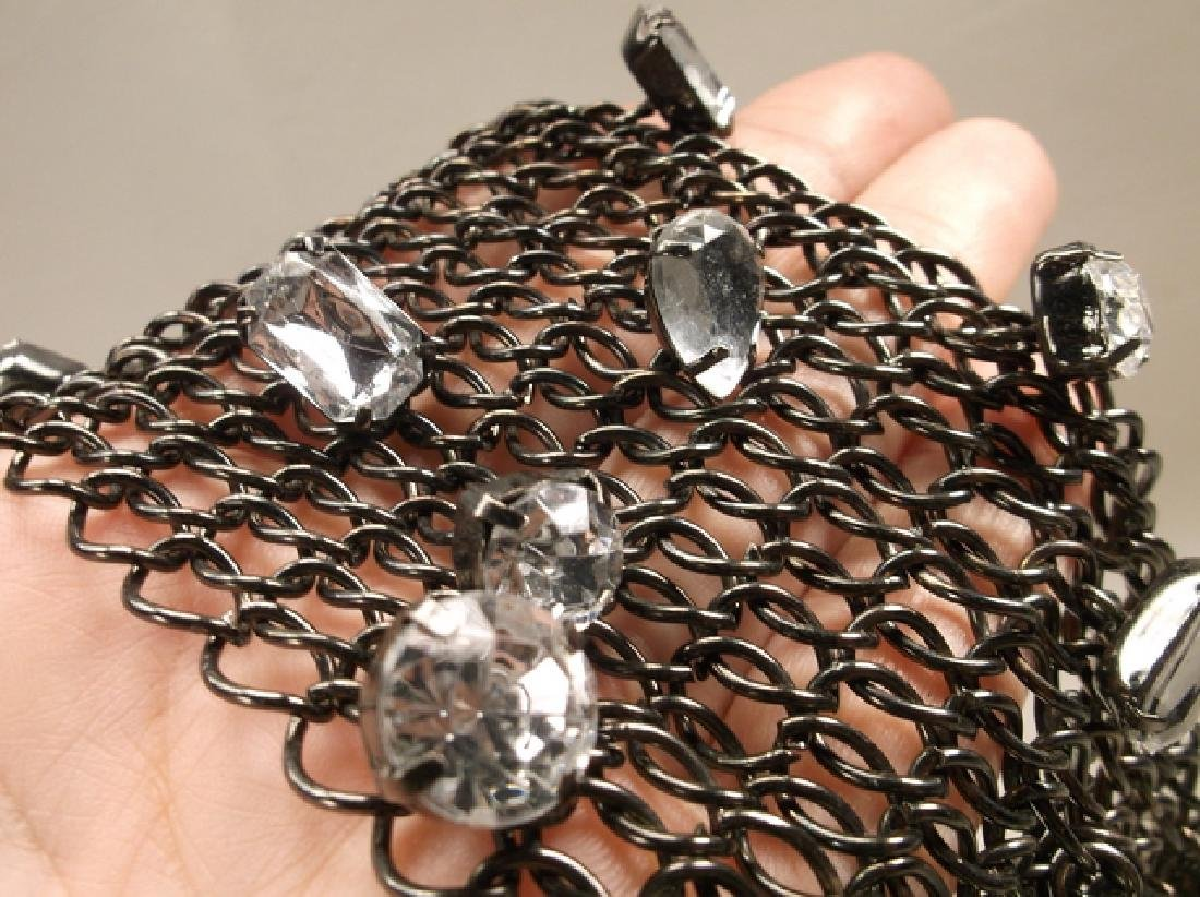 Gorgeous Large Blacktone Rhinestone Wide Mesh Chain - 4