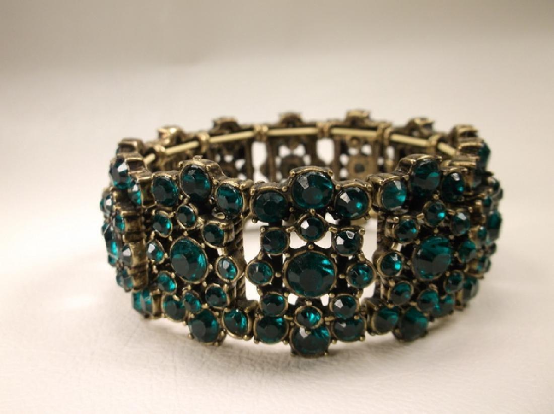 Gorgeous Green Rhinestone Stretch Bracelet
