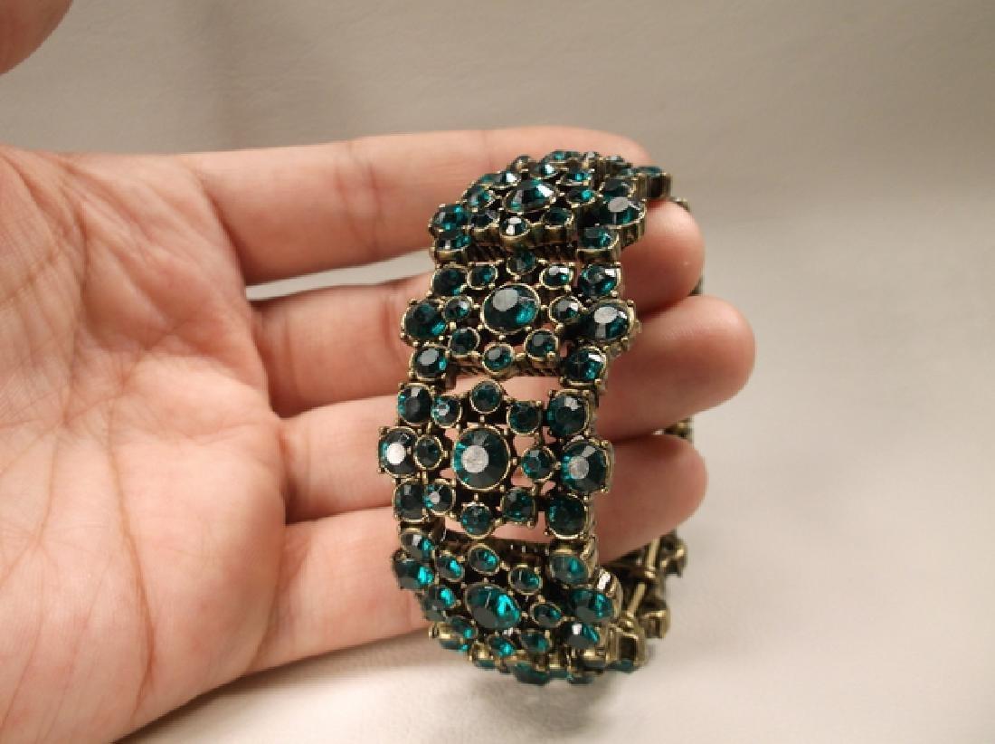 Gorgeous Green Rhinestone Stretch Bracelet - 2