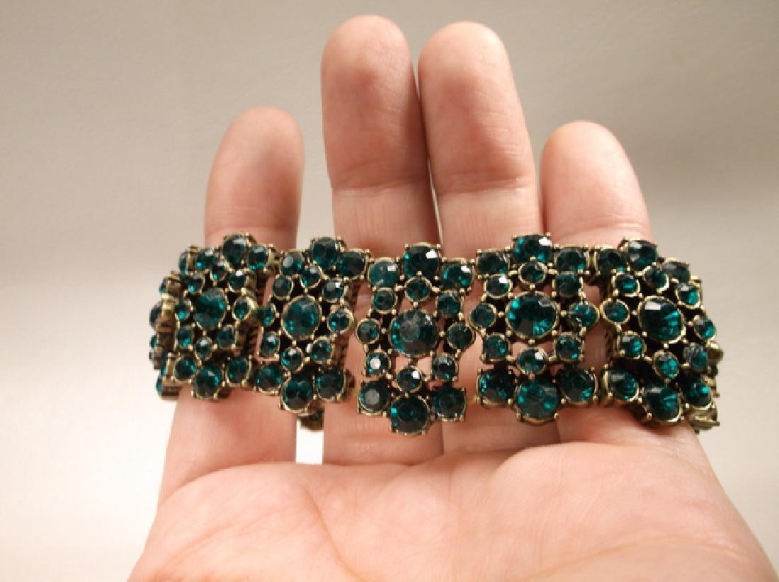 Gorgeous Green Rhinestone Stretch Bracelet - 4