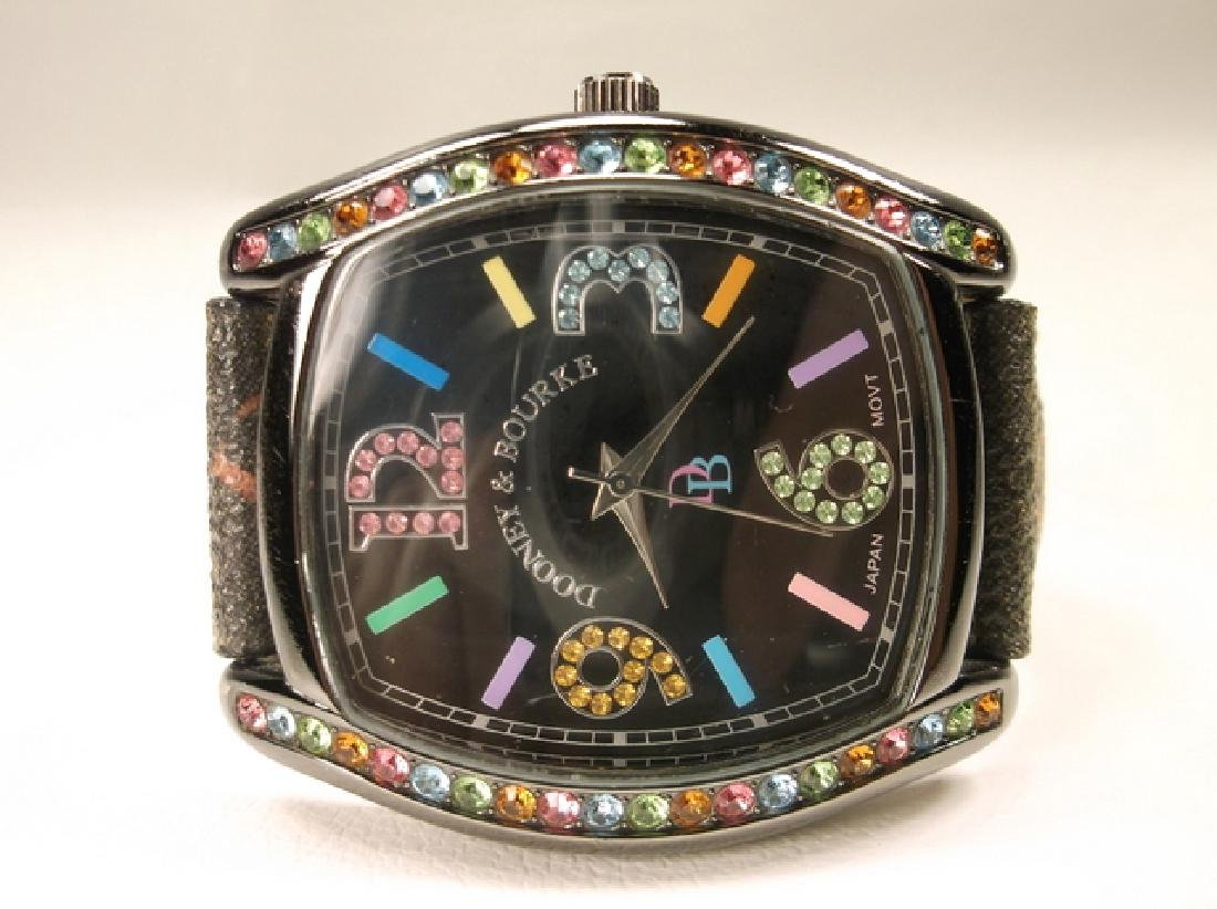 Black Leather Dooney & Bourke Colorful Wristwatch