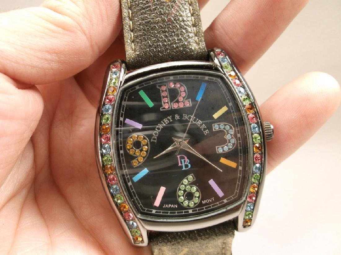 Black Leather Dooney & Bourke Colorful Wristwatch - 4