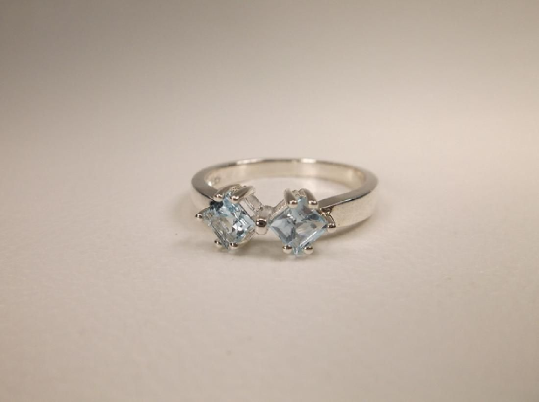 Gorgeous Sterling Silver Genuine Aquamarine Ring in