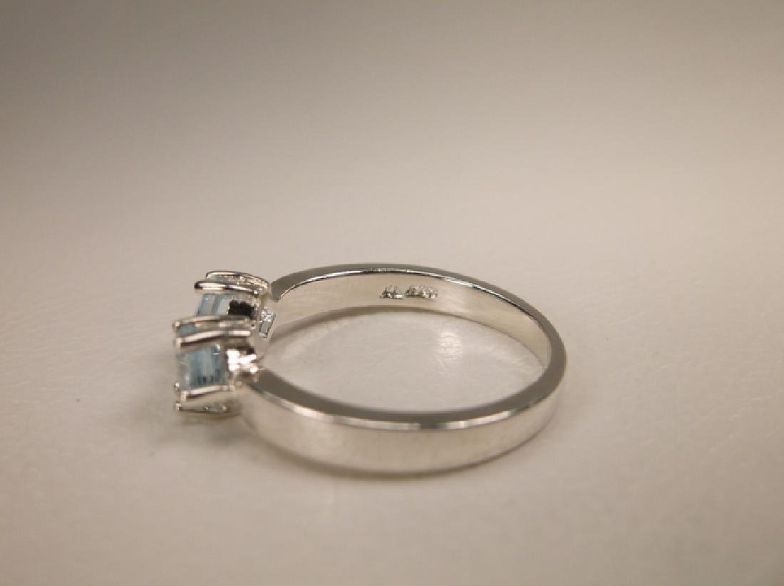 Gorgeous Sterling Silver Genuine Aquamarine Ring in - 2