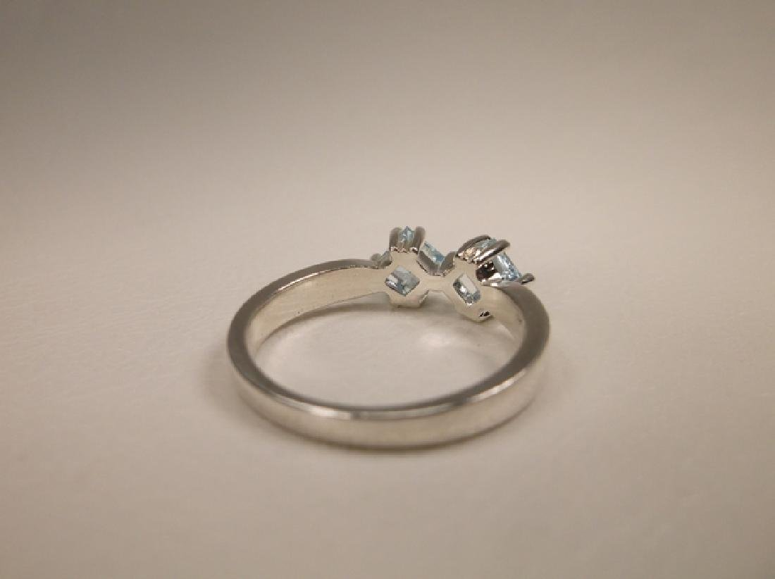 Gorgeous Sterling Silver Genuine Aquamarine Ring in - 3