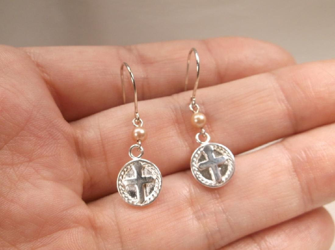 Gorgeous Sterling Silver Cross Pearl Drop & Dangle - 3