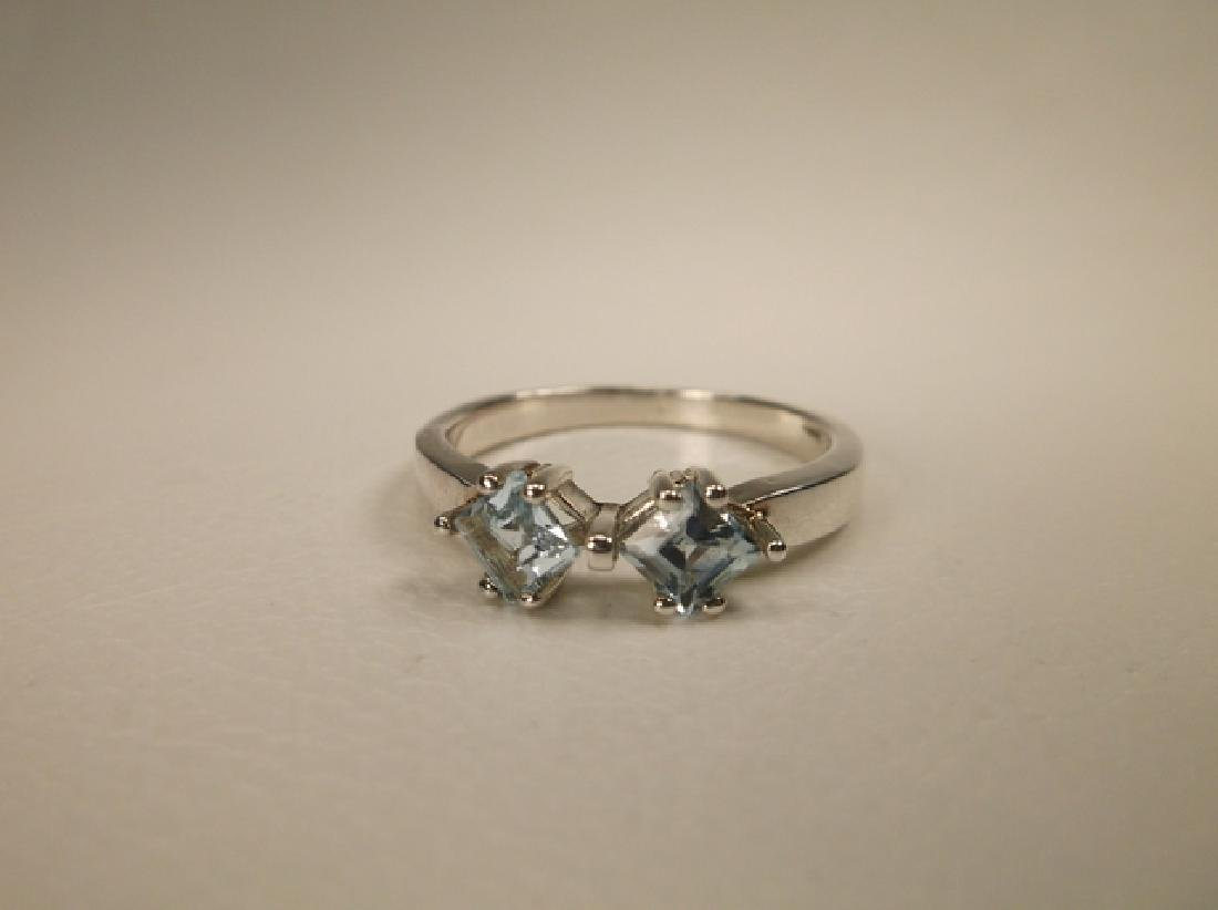 Gorgeous Sterling Silver Aquamarine Ring in Size 7.75