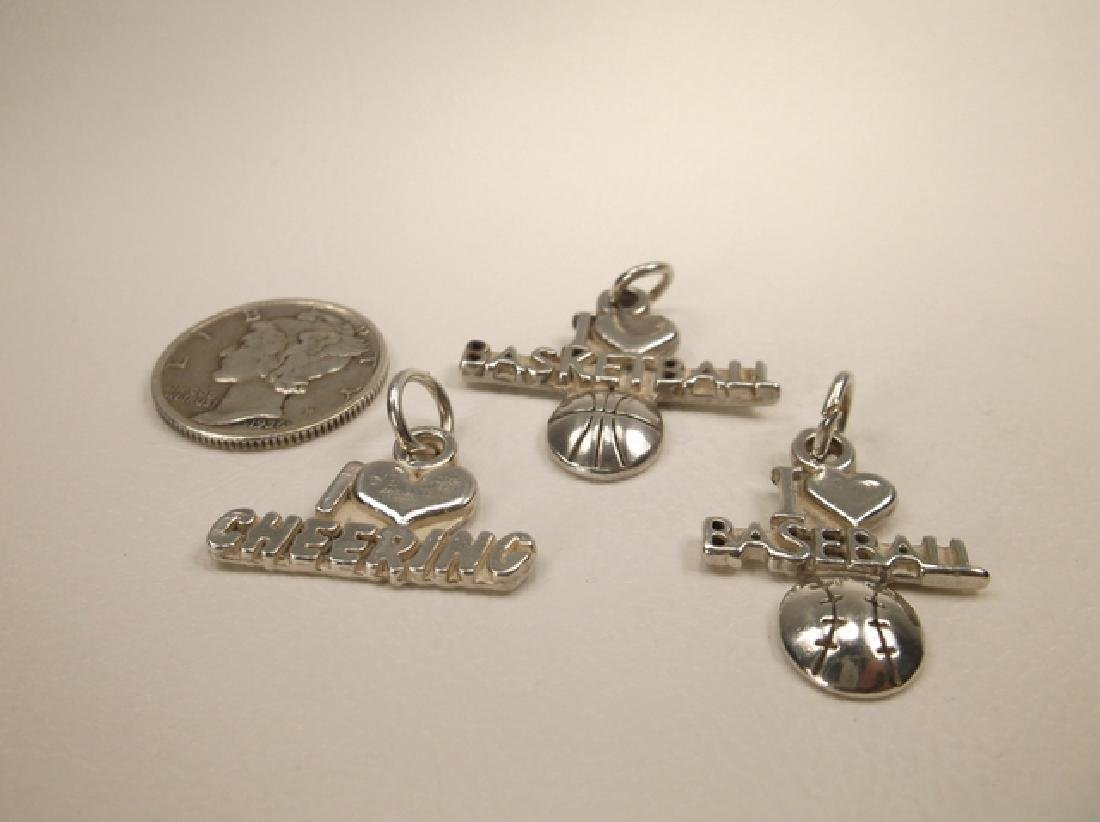 3 Gorgeous Vintage Sterling Silver Sports Charms or
