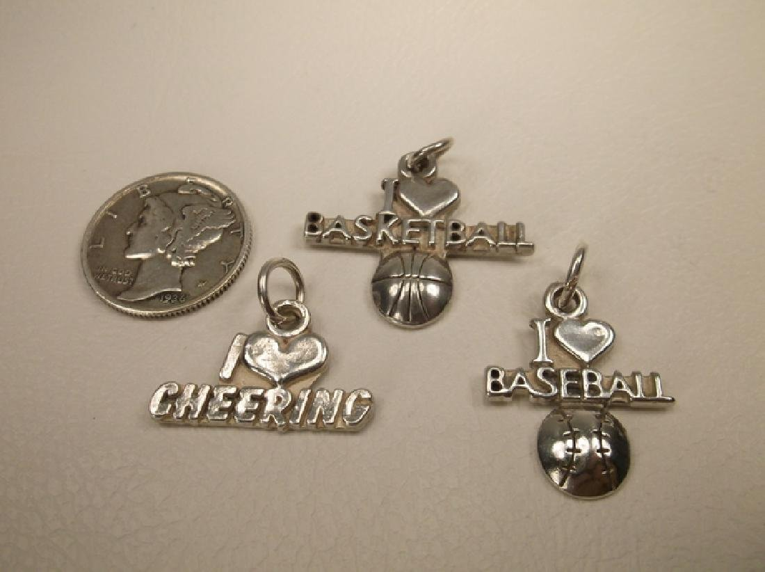 3 Gorgeous Vintage Sterling Silver Sports Charms or - 2