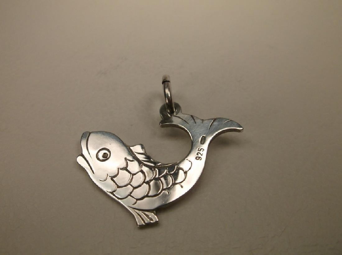 Gorgeous Sterling Silver Japanese Koi Fish Pendant - 3