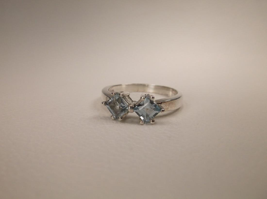 Gorgeous Sterling Silver Aquamarine Ring in Size 6.25