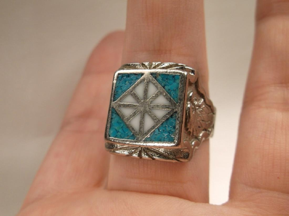 Beautiful 1970s Turquoise Eagle & Feather Mens Ring in