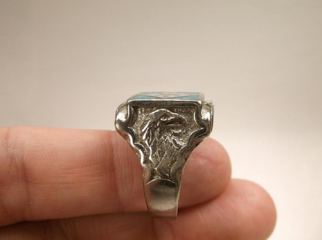 Beautiful 1970s Turquoise Eagle & Feather Mens Ring in - 2