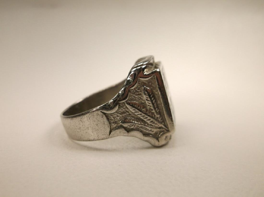 Beautiful 1970s Turquoise Eagle & Feather Mens Ring in - 3
