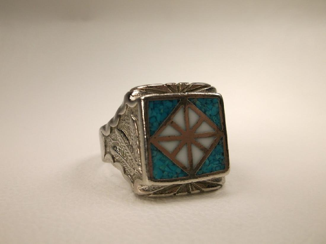 Beautiful 1970s Turquoise Eagle & Feather Mens Ring in - 4