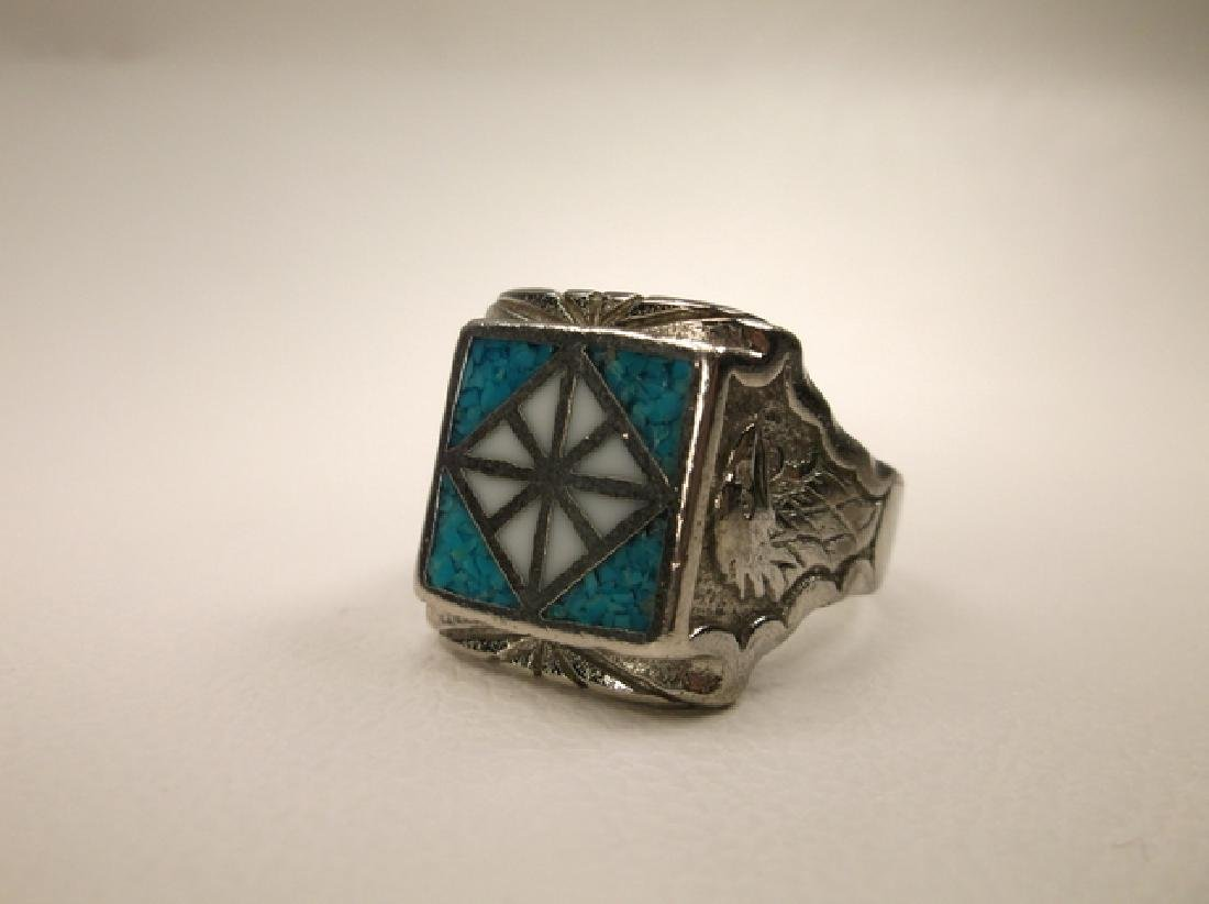 Beautiful 1970s Turquoise Eagle & Feather Mens Ring in - 5