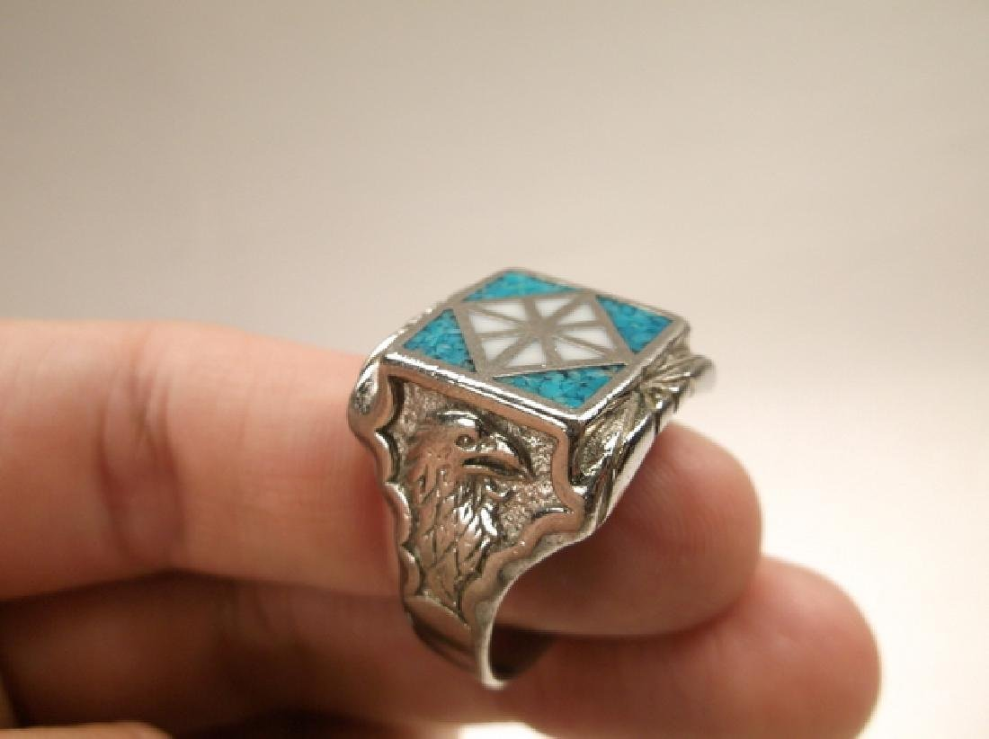 Beautiful 1970s Turquoise Eagle & Feather Mens Ring in - 7