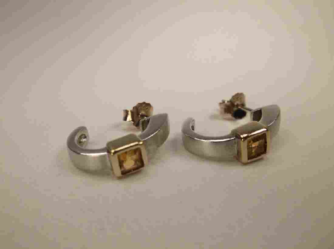 Gorgeous Thick Sterling Silver Citrine Stud Earrings