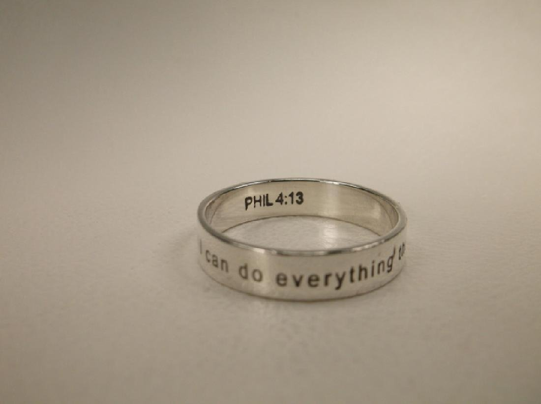 Gorgeous Sterling Phil 4:13 Mens Band Ring in Size 10 - 2