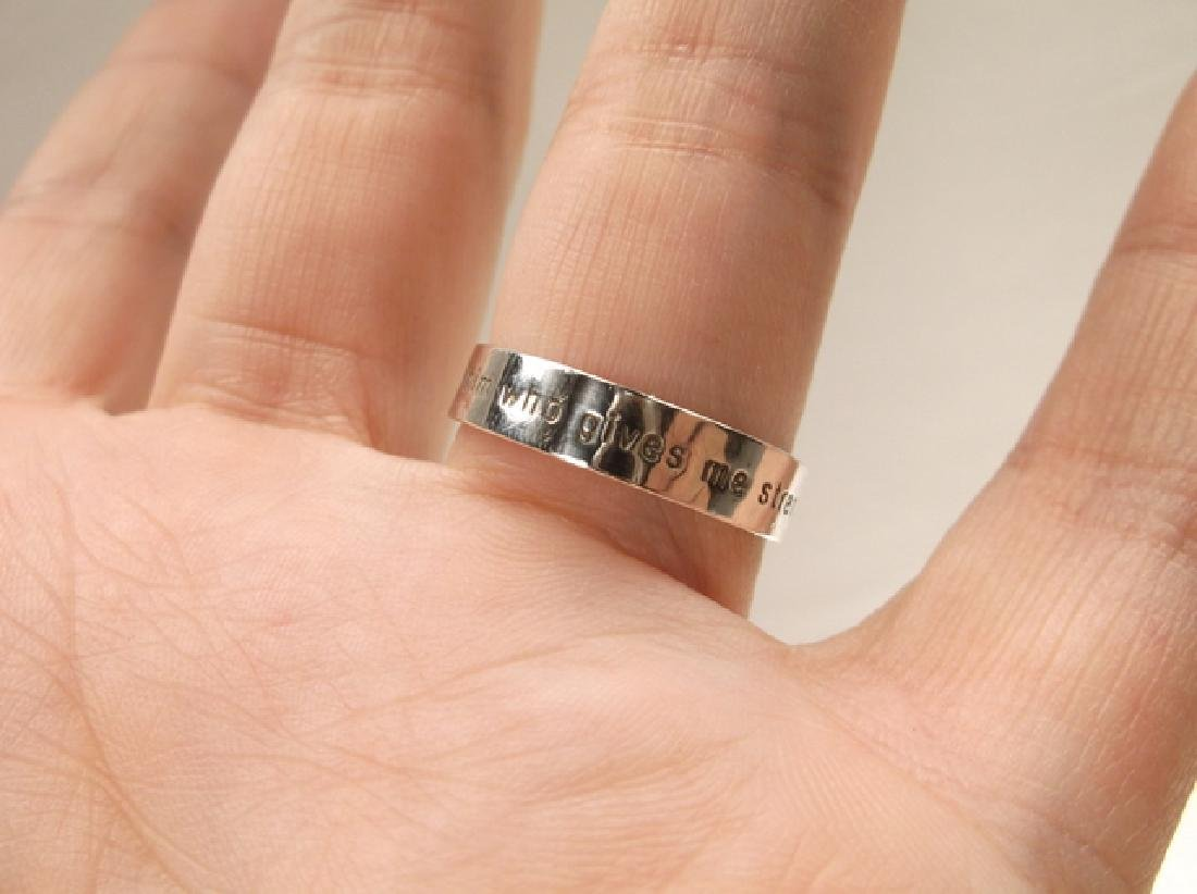 Gorgeous Sterling Phil 4:13 Mens Band Ring in Size 10 - 4