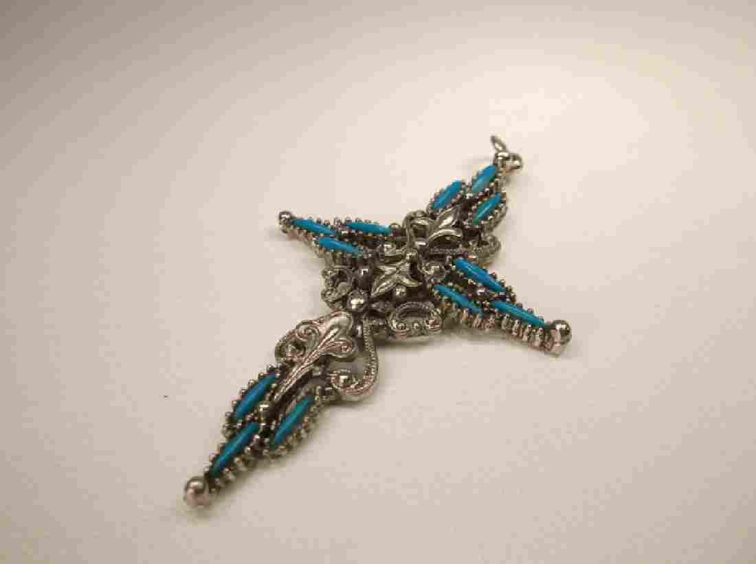 Gorgeous Vintage 1970s Turquoise Cross Pendant