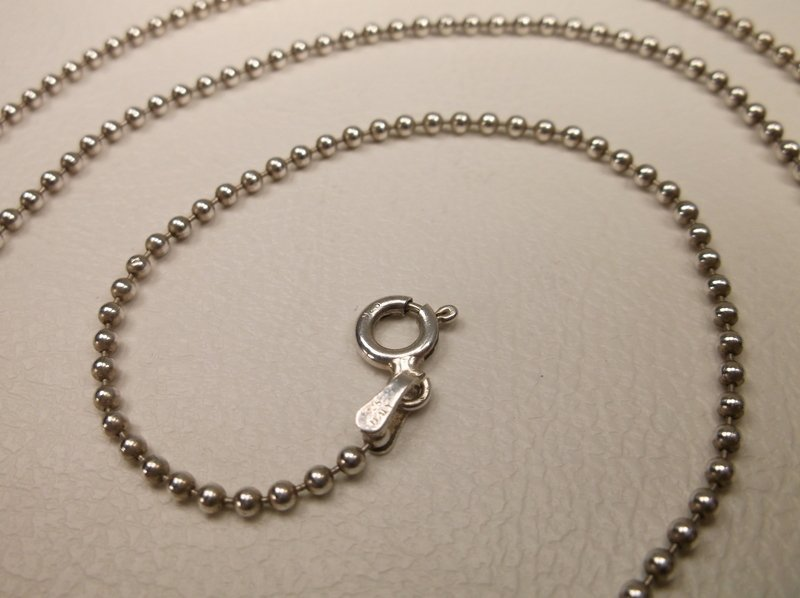 "Gorgeous Thick Sterling Silver Ball Chain Necklace 24"" - 2"