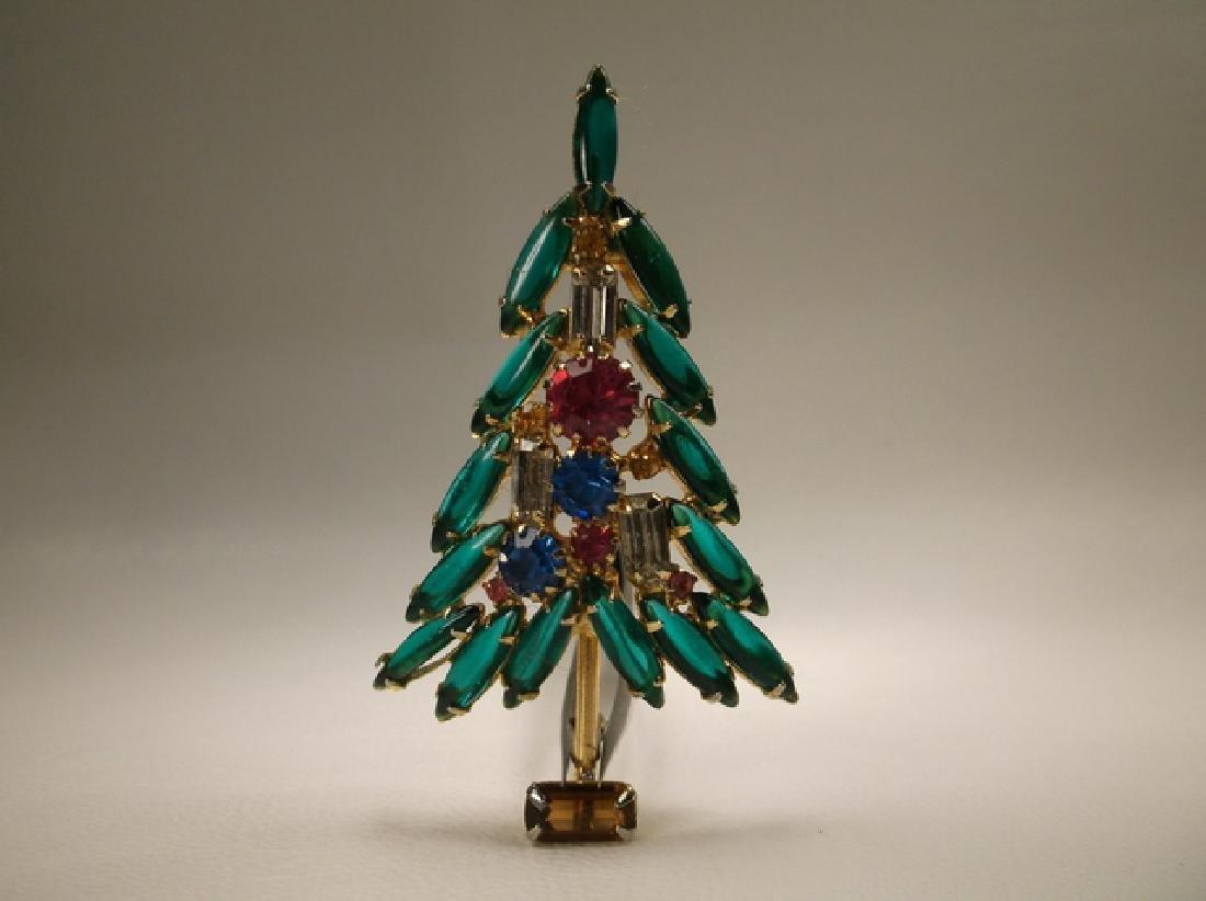 Incredible Antique Gold Tone Rhinestone Christmas Tree