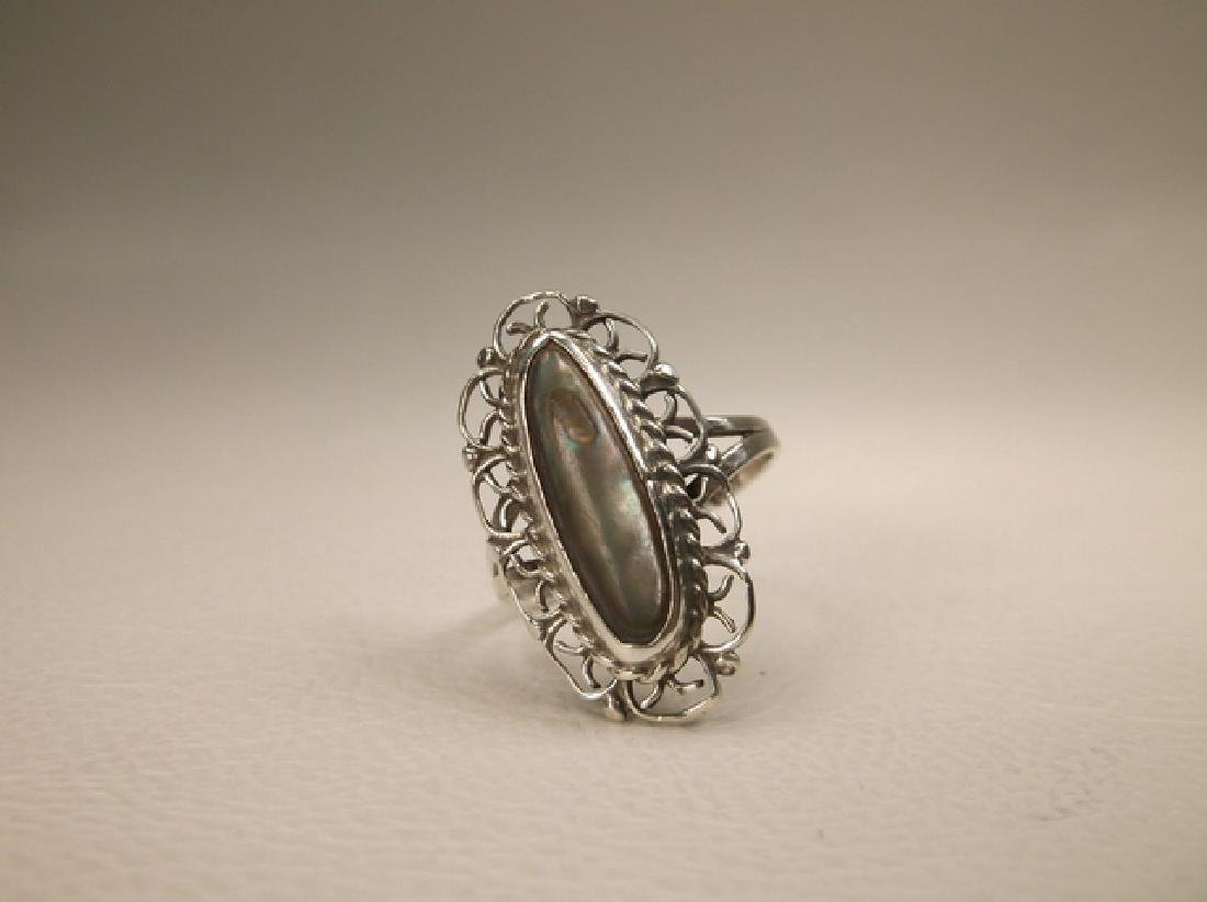 Beautiful Antique Taxco Sterling Silver Abalone Ring