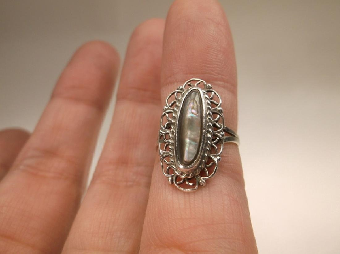 Beautiful Antique Taxco Sterling Silver Abalone Ring - 3