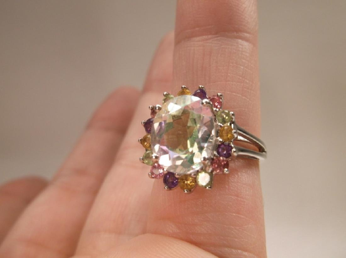 Stunning Sterling Silver Multi Gemstone Cocktail Ring