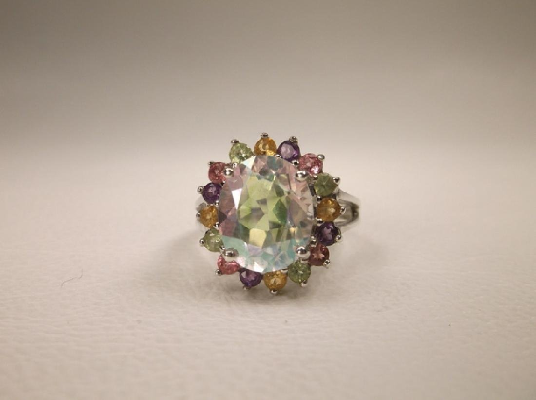 Stunning Sterling Silver Multi Gemstone Cocktail Ring - 2