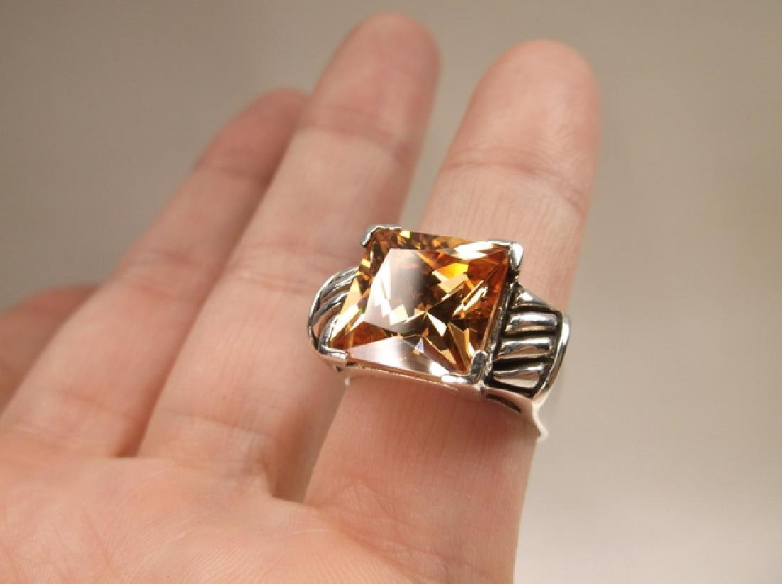 Stunning Vintage Sterling Silver Orange Stone Thick