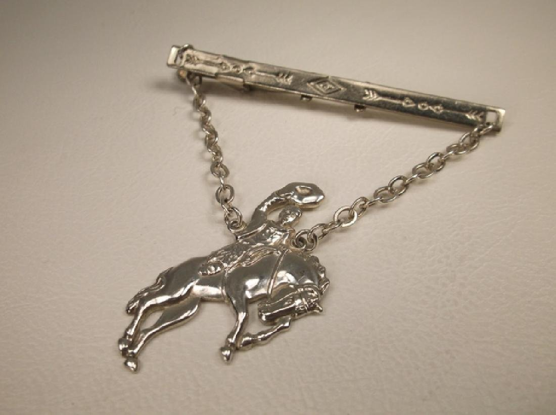 Gorgeous Vintage Bell Sterling Silver Bronco Buster Tie