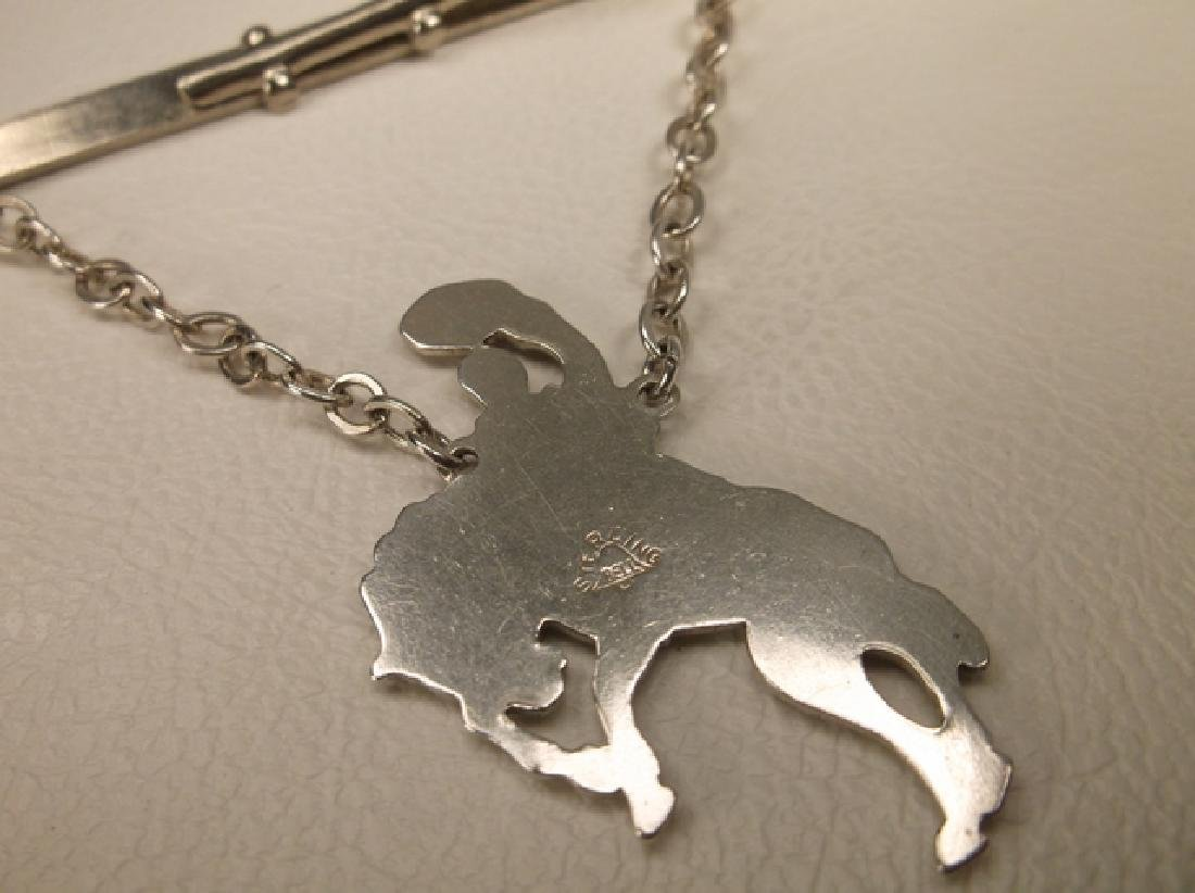 Gorgeous Vintage Bell Sterling Silver Bronco Buster Tie - 5