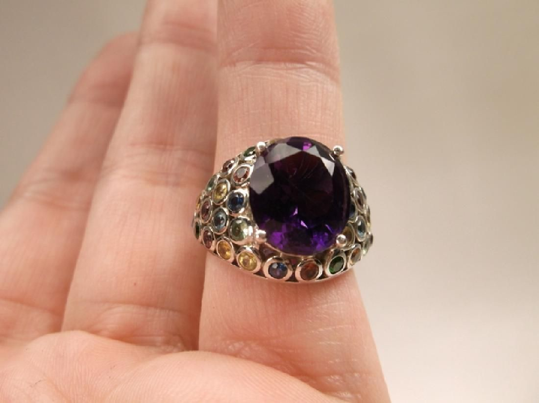 Gorgeous Sterling Silver Multi Gemstone Cocktail Ring