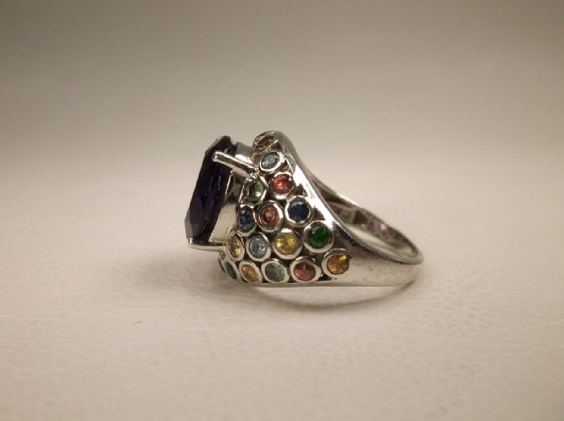 Gorgeous Sterling Silver Multi Gemstone Cocktail Ring - 3