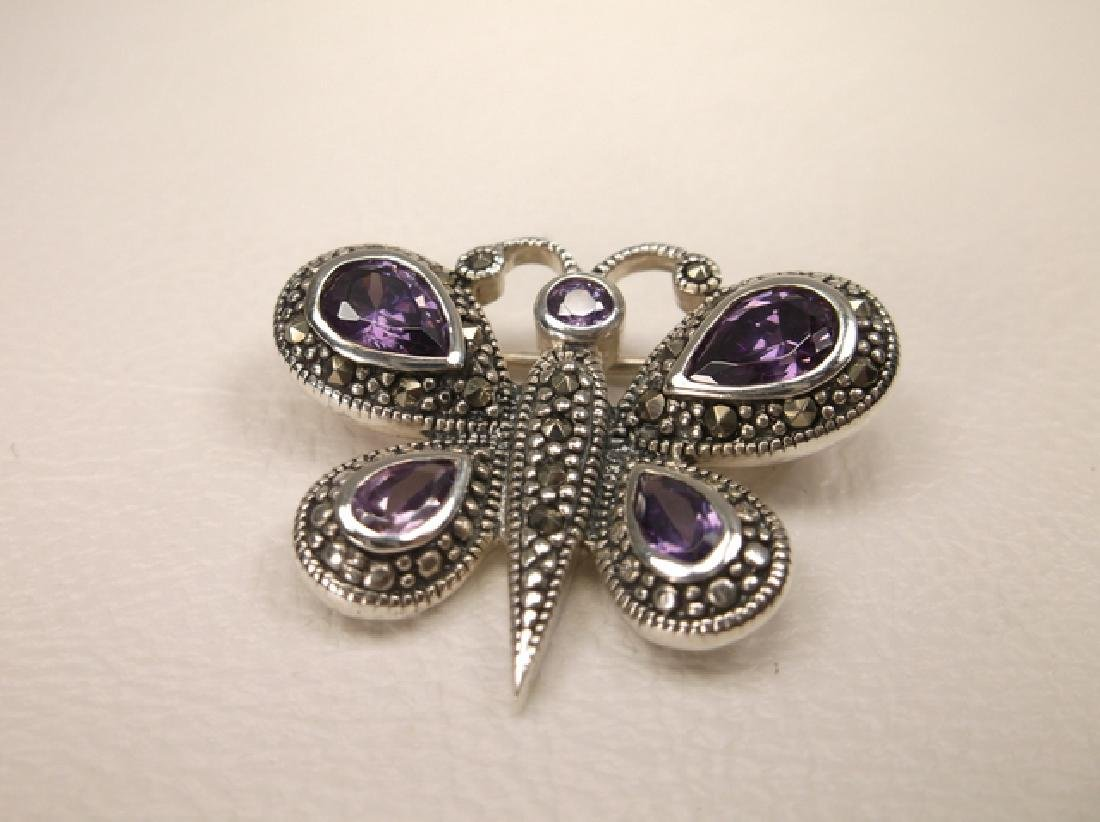 Stunning Thick Sterling Silver Topaz Butterfly Brooch