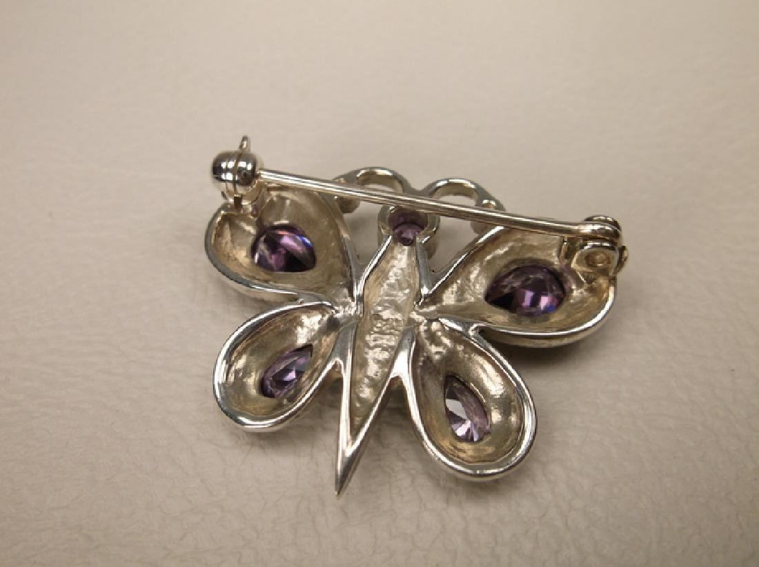 Stunning Thick Sterling Silver Topaz Butterfly Brooch - 2