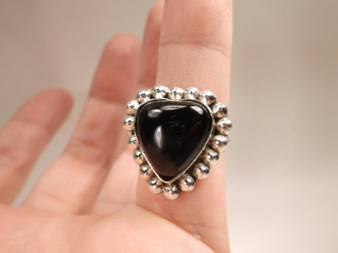 Gorgeous Vintage Sterling Silver Taxco Onyx Heart Ring