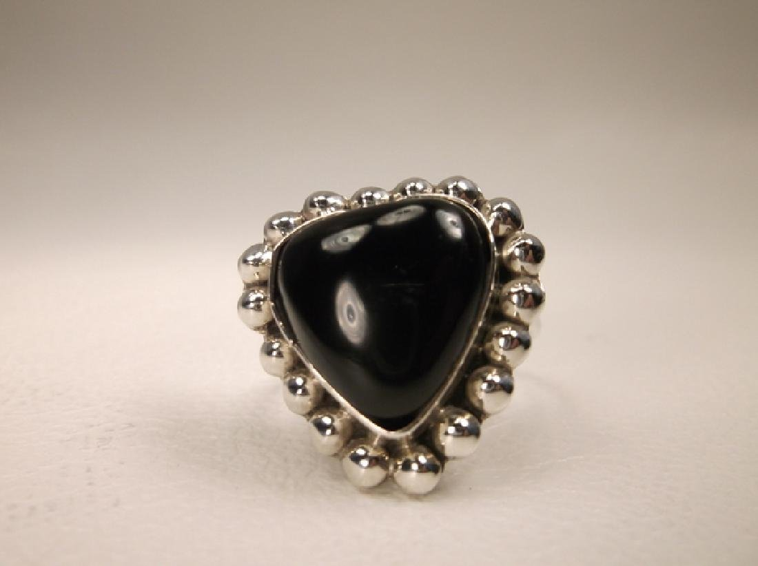 Gorgeous Vintage Sterling Silver Taxco Onyx Heart Ring - 2