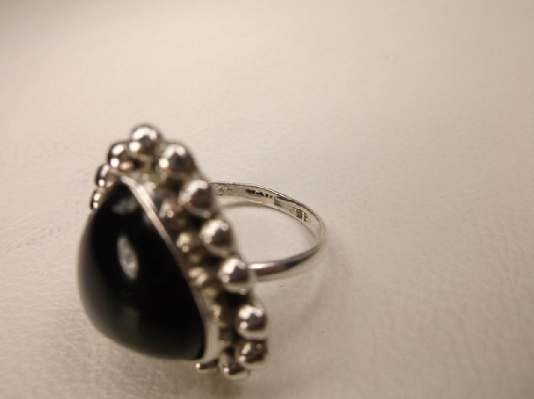 Gorgeous Vintage Sterling Silver Taxco Onyx Heart Ring - 5